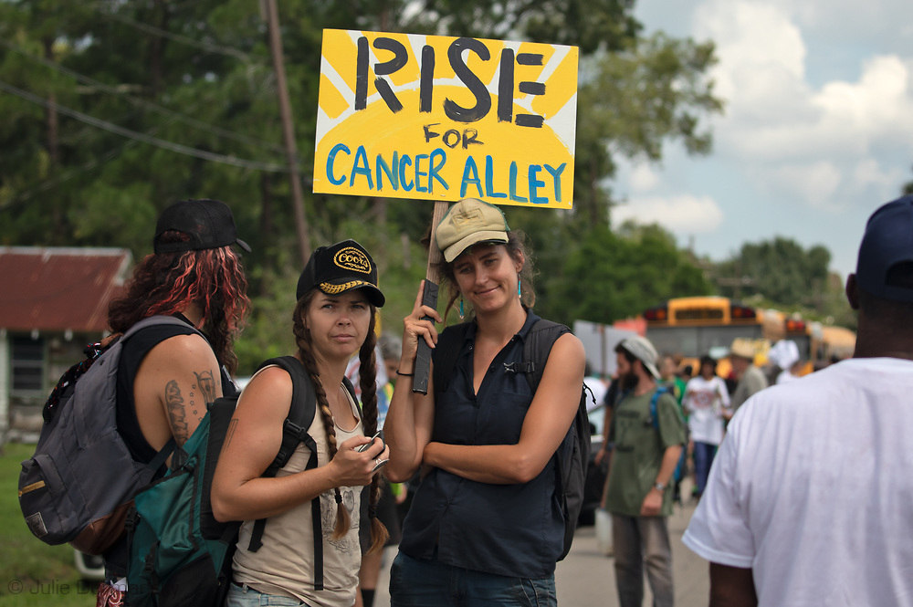 Participants in the 'Rise for Climate' event in St James Louisiana.