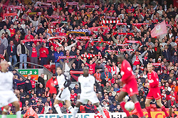 LIVERPOOL, ENGLAND - Sunday, November 4, 2001: Liverpool's supporters sing You'll Never Walk Alone as their side beat Manchester United 3-1 during the Premiership match at Anfield. (Pic by David Rawcliffe/Propaganda)