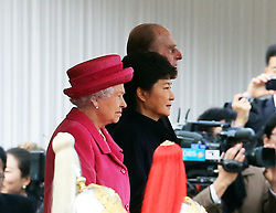 The Queen and The Duke of Edinburgh  with the President of the Republic of Korea Her Excellency Park Geun-hye during a Ceremonial Welcome for the President at the start of her State Visit to the UK at  Horse Guards Parade in London , Tuesday, 5th November 2013. Picture by Stephen Lock / i-Images