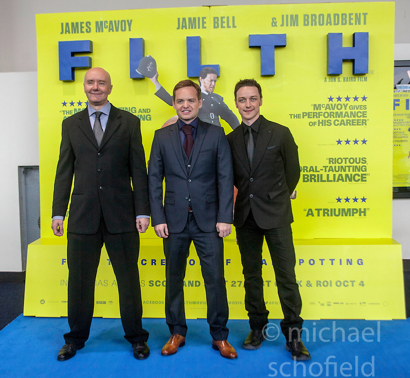 Irvine Welsh, director Jon S Baird and James McAvoy, <br /> Edinburgh hosts the World Premiere of Filth at the Omni cinema.<br /> &copy;Michael Schofield.
