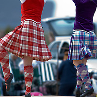 Two highland dancers where HRH The Prince Charles Duke of Rothesay and HRH Duchess of Rothesay watch the Mey Games at Mey (Caithness) Scotland Aug 4 2007