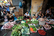 Vietnamese vendors sell meat, fruits and vegetables in a local market of Hanoi, Vietnam, Southeast Asia