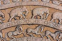 Ornate carvings of horses and elephants in steps, Sacred Quadrangle, Ruins of ancient city, Polonnaruwa, Sri Lanka.