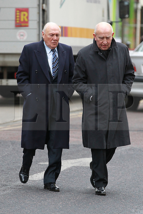 © Licensed to London News Pictures . 01/03/2013 . Preston , UK . STUART HALL (left) arrives at Preston Crown Court today (1st March 2013) . The broadcaster is accused of rape and sexual assault . Photo credit : Joel Goodman/LNP