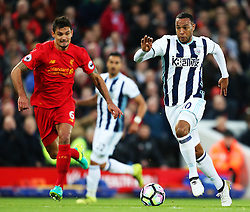 Matt Phillips of West Bromwich Albion sprints past Dejan Lovren of Liverpool - Mandatory by-line: Matt McNulty/JMP - 22/10/2016 - FOOTBALL - Anfield - Liverpool, England - Liverpool v West Bromwich Albion - Premier League