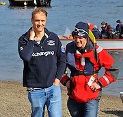 London, UK,  2014 Varsity, Annual Tideway Week. OUBC, Oxford University Boat Club, George BRIDGEWATER (NZL) (left), 7 Man in the OUBC winning crew of 2009, with Barney WILLIAMS (CAN) (right), of the 2005 OUBC winning crew, also President 2006. 05:53:50  Saturday  05/04/2014  : [Mandatory Credit Intersport Images]