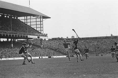 Cork and Kilkenny both jumping for possession of the slitor during the All Ireland Senior Hurling Final, Cork v Kilkenny in Croke Park on the 3rd September 1972. Kilkenny 3-24, Cork 5-11.