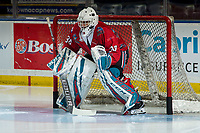 KELOWNA, CANADA - MARCH 9:  Roman Basran #30 of the Kelowna Rockets warms up in net against the Kamloops Blazers on March 9, 2019 at Prospera Place in Kelowna, British Columbia, Canada.  (Photo by Marissa Baecker/Shoot the Breeze)