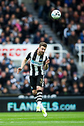Newcastle United defender Paul Dummett (#3) heads the ball clear during the EFL Sky Bet Championship match between Newcastle United and Barnsley at St. James's Park, Newcastle, England on 7 May 2017. Photo by Craig Doyle.