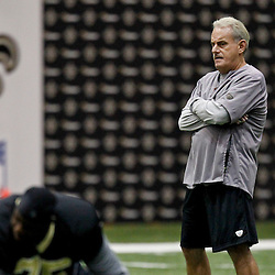 July 26, 2012; Metairie, LA, USA; New Orleans Saints assistant head coach and linebackers coach Joe Vitt during the first day of of training camp at the team's indoor practice facility. Mandatory Credit: Derick E. Hingle-US PRESSWIRE