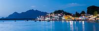 Brasil - ES - Vitoria - Vista panoramica da ilha das Caieiras ao anoitecer. Foto: David Protti