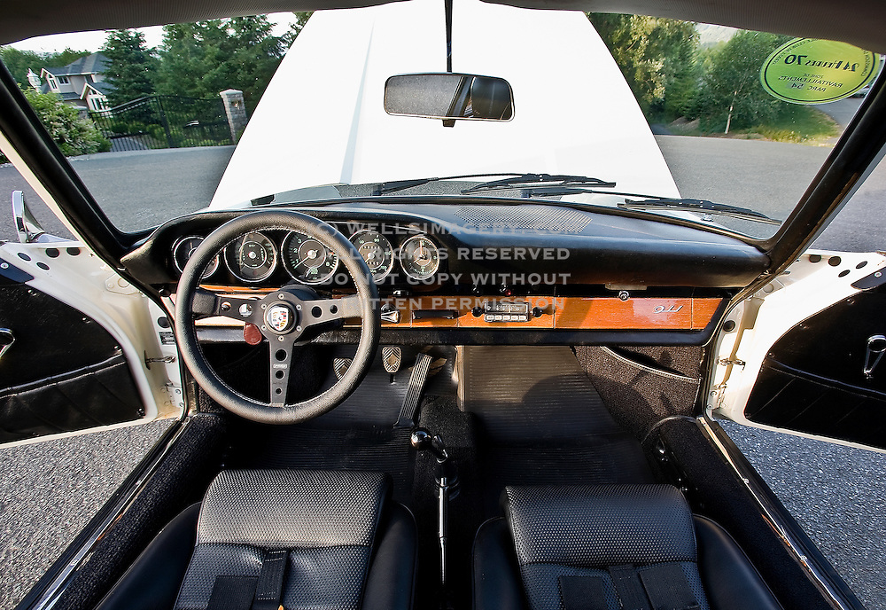 image of a 60s sports car interior near seattle washington pacific northwest