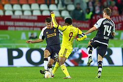 MOSCOW, RUSSIA - Thursday, November 8, 2012: Liverpool's Conor Coady in action against FC Anji Makhachkala's Samuel Eto'o during the UEFA Europa League Group A match at the Lokomotiv Stadium. (Pic by David Rawcliffe/Propaganda)