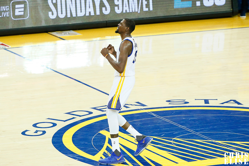 12 June 2017: Golden State Warriors forward Kevin Durant (35) reacts during the Golden State Warriors 129-120 victory over the Cleveland Cavaliers, in game 5 of the 2017 NBA Finals, at the Oracle Arena, Oakland, California, USA.