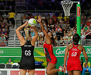 11th April 2018, Gold Coast Convention and Exhibition Centre, Gold Coast, Australia; Commonwealth Games day 7; Netball, England versus New Zealand; Ta Paea Selby-Rickit of New Zealand takes the shot as Geva Mentor of England tries to block