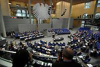 """22 MAR 2007, BERLIN/GERMANY:<br /> Uebersicht, Plenarsaal, Bundestagsdebatte zum Thema """"50 Jahre Roemische Verträge"""", Deutscher Bundestag<br /> IMAGE: 20070322-01-021<br /> KEYWORDS: Übersicht, Plenum, Reichstag, Bundesadler"""