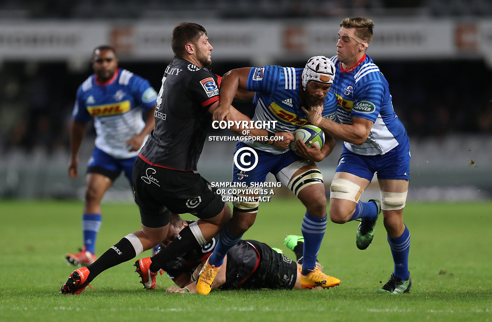 DURBAN, SOUTH AFRICA - MAY 27: Ruan Botha of the Cell C Sharks looks to tackle Nizaam Carr of the DHL Stormers during the Super Rugby match between Cell C Sharks and DHL Stormers at Growthpoint Kings Park on May 27, 2017 in Durban, South Africa. (Photo by Steve Haag/Gallo Images)