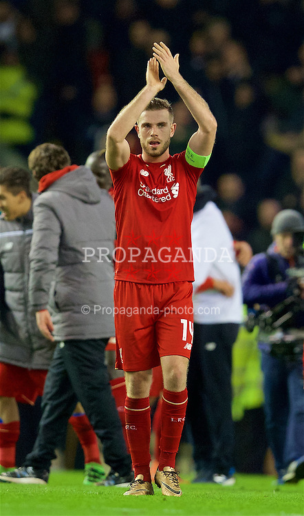 LIVERPOOL, ENGLAND - Thursday, March 10, 2016: Liverpool's captain Jordan Henderson celebrates after the 2-0 victory over Manchester United during the UEFA Europa League Round of 16 1st Leg match at Anfield. (Pic by David Rawcliffe/Propaganda)