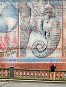 Mural of Packy - the Asian elephant at the Oregon Zoo in Portland (born 14 April 1962) - marked with paint in preparation for the addition of windows in the 1892 Packer-Scott building in Portland's Old Town/Chinatown.  The historic building became the headquarters of Mercy Corps in 2009, after a $25 million renovation designed by THA Architecture.  This mural of Packy was painted in 1990 by North Pacific Sign & Design.   Many Packy fans visited the building and photographed it from the Burnside Bridge before the mural was lost.  This photo was taken on 17 April 2008, three days after the real Packy celebrated his 46th birthday.