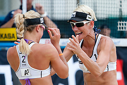 Simona Fabjan and Andreja Vodeb of Slovenia celebrate victory and qualification to main draw at A1 Beach Volleyball Grand Slam presented by ERGO tournament of Swatch FIVB World Tour 2012, on July 17, 2012 in Klagenfurt, Austria. (Photo by Matic Klansek Velej / Sportida)