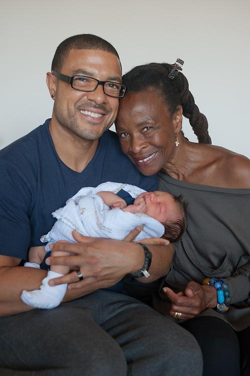 grandmother,father, newborn son portrait