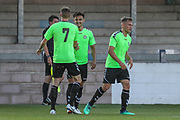 Forest Green Rovers Liam Shephard(2) congratulates goalscorer Forest Green Rovers Carl Winchester(7) during the Pre-Season Friendly match between Torquay United and Forest Green Rovers at Plainmoor, Torquay, England on 10 July 2018. Picture by Shane Healey.