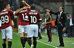 28.09.2011, Stadion Giuseppe Meazza, Mailand, ITA, UEFA CL, Gruppe H, ITA, UEFA CL, AC Mailand (ITA) vs FC Viktoria Pilsen (CZE), im Bild Massimiliano ALLEGRI Allenatore del Milan. // during the UEFA Champions League game, group H, AC Mailand (ITA) vs FC Viktoria Pilsen (CZE) at Giuseppe Meazza stadium in Mailand, Italy on 2011/09/28. EXPA Pictures © 2011, PhotoCredit: EXPA/ InsideFoto/ Alessandro Sabattini +++++ ATTENTION - FOR AUSTRIA/(AUT), SLOVENIA/(SLO), SERBIA/(SRB), CROATIA/(CRO), SWISS/(SUI) and SWEDEN/(SWE) CLIENT ONLY +++++