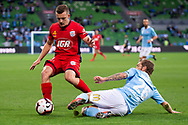 MELBOURNE, AUSTRALIA - APRIL 13: Melbourne City midfielder Luke Brattan (26) clears the ball away during round 25 of the Hyundai A-League soccer match between Melbourne City FC and Adelaide United on April 13, 2019 at AAMI Park in Melbourne, Australia. (Photo by Speed Media/Icon Sportswire)