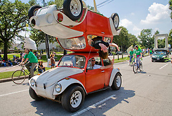 "Houston, Texas:  ""Mirror Image"" -- double bug, as it were -- was one of the more unusual entries in the 2007 Art Car Parade down Allen Parkway."
