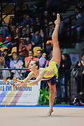 Viktoria Bogdanova atleta della società Ginnastica Fabriano durante la seconda prova del Campionato Italiano di Ginnastica Ritmica.<br /> La gara si è svolta a Desio il 31 ottobre 2015.<br /> Viktoria è un' atleta estone nata a Tallin nel 1994.