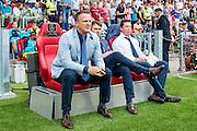 EINDHOVEN - 14-08-2016, PSV - AZ, Philips Stadion, 1-0, AZ trainer John van den Brom, Assistent trainer Dennis Haar, Assistent trainer Leeroy Echteld