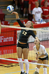 25 AUG 2007: Allison Sears strikes a slam. Illinois State defeated Valparaiso in 3 straight games to take the match with a shut out. The Valparaiso Crusaders visited the Illinois State Redbirds on Doug Collins Court in Redbird Arena on the campus of Illinois State University in Normal Illinois.