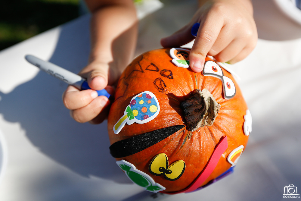 Children of all ages decorate pumpkins during the annual Sunnyhills Neighborhood Association's Sunnyhills Pre-Halloween Party at Albert Augustine Jr. Memorial Park in Milpitas, California, on October 26, 2013. (Stan Olszewski/SOSKIphoto)