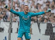 Karl-Johan Johnsson (FC København) jubler over godt forsvarsspil under kampen i 3F Superligaen mellem FC København og FC Midtjylland den 22. september 2019 i Telia Parken (Foto: Claus Birch / Ritzau Scanpix).