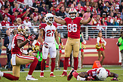 San Francisco 49ers tight end Garrett Celek (88) reacts to a play against the Arizona Cardinals at Levi's Stadium in Santa Clara, Calif., on November 5, 2017. (Stan Olszewski/Special to S.F. Examiner)
