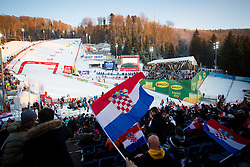 """Spectators during FIS Alpine Ski World Cup 2016/17 Ladies Slalom race named """"Snow Queen Trophy 2017"""", on January 3, 2017 in Course Crveni Spust at Sljeme hill, Zagreb, Croatia. Photo by Ziga Zupan / Sportida"""