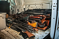 Long gun loaded in the back of a police van that were tunred in at a gun buyback event called for by New Orleans Mayor LaToya Cantrell on Jan 20, 2019. The line started at 5:30.  Only 200 of the more than 1000 people who turned out were able to claim the $500 offered for any gun in working condition turned in. When the Mayor first announced the buyback program no limits were put on how many guns you could bring in for $500. That was changed to $500 maximum payout to any one who could prove residency in Orleans Parish.