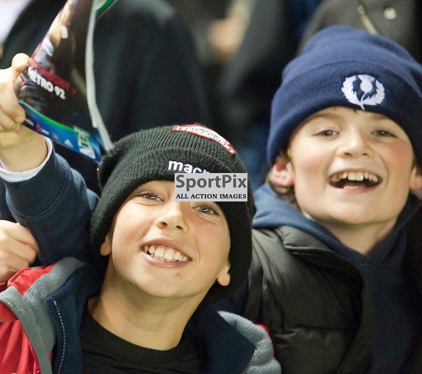 Young fans celebrate, Edinburgh Rugby v Racing Metro