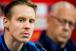 March 22, 2019 - Valencia, SPAIN - 190322 Stefan Johansen and Lars Lagerbäck, head coach of Norway, during a press conference on March 22, 2019 in Valencia..Photo: Vegard Wivestad Grøtt / BILDBYRÃ…N / kod VG / 170314 (Credit Image: © Vegard Wivestad GrØTt/Bildbyran via ZUMA Press)