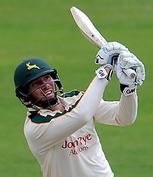 Nottinghamshire's Brendan Taylor smashes the ball off the bowling of Somerset's Peter Trego - Photo mandatory by-line: Harry Trump/JMP - Mobile: 07966 386802 - 14/06/15 - SPORT - CRICKET - LVCC County Championship - Division One - Day One - Somerset v Nottinghamshire - The County Ground, Taunton, England.