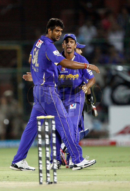 Rajasthan Royals player Pankaj Singh celebrates the wicket of Chennai Super King player Suresh Raina during match 56 of the the Indian Premier League ( IPL) 2012  between The Rajasthan Royals and the Chennai SUperkings held at the Sawai Mansingh Stadium in Jaipur on the 10th May 2012..Photo by Pankaj Nangia/IPL/SPORTZPICS