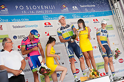 Second placed Maximiliano Richeze (Lampre), winner Brett Lancaster, Australia (GreenEdge) and third placed Michael Hepburn Orica-Green Edge during flower ceremony after the Stage 4 from Brezice to Novo mesto (155,8 km) of cycling race 20th Tour de Slovenie 2013,  on June 16, 2013 in Slovenia. (Photo By Vid Ponikvar / Sportida)
