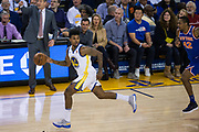 Golden State Warriors guard Nick Young (6) pushes the ball down the court against the New York Knicks at Oracle Arena in Oakland, Calif., on May 2, 2017. (Stan Olszewski/Special to S.F. Examiner)