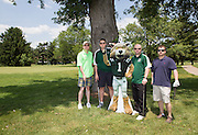 Left to right: Tom Hoffman, Andy Fodor, Norm O'Reilly, and Chris Mobery at the alumni golf outing. Photo by Lauren Pond