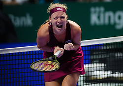 October 23, 2018 - Kallang, SINGAPORE - Kiki Bertens of the Netherlands in action during her first match at the 2018 WTA Finals tennis tournament (Credit Image: © AFP7 via ZUMA Wire)