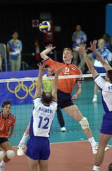 21-09-2000 AUS: Olympic Games Volleybal Nederland - Brazilie, Sydney<br /> Nederland verliest met 3-0 van Brazilie / Bas van de Goor, Nalbert Bitencourt