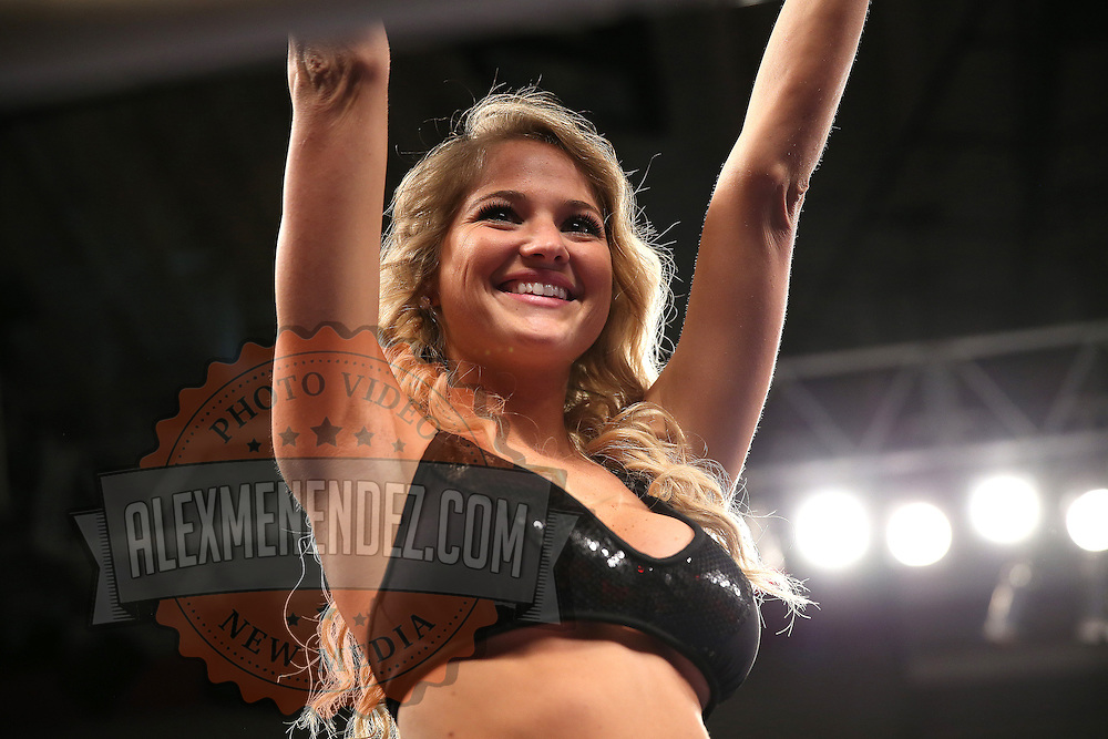 """Ring girl during the """"Boxeo Telemundo"""" boxing match at the Kissimmee Civic Center on Friday, March 14, 2014 in Kissimmme, Florida. (Photo/Alex Menendez)"""