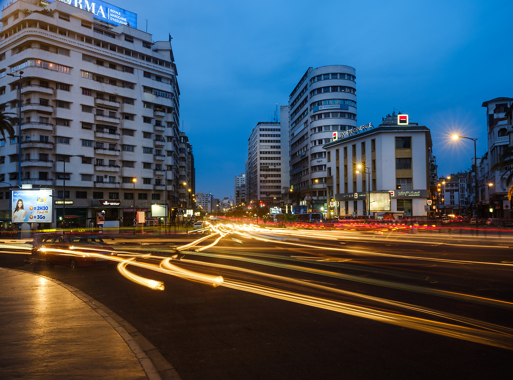 CASABLANCA, MOROCCO - CIRCA APRIL 2017: Avenue Des Far and Boulevard Hassan I in Casablanca at night.
