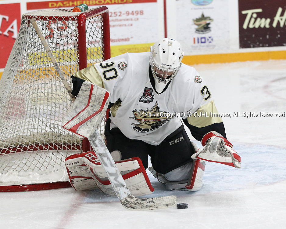 TRENTON, ON  - DEC 1,  2017: Ontario Junior Hockey League game between the Trenton Golden Hawks and the Cobourg Cougars. Will Rawski #30 of the Trenton Golden Hawks makes the save during the third period.<br /> (Photo by Tim Bates / OJHL Images)