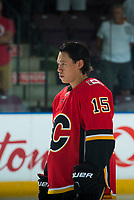 PENTICTON, CANADA - SEPTEMBER 8: Spencer Foo #15 of Calgary Flames lines up against the Edmonton Oilers on September 8, 2017 at the South Okanagan Event Centre in Penticton, British Columbia, Canada.  (Photo by Marissa Baecker/Shoot the Breeze)  *** Local Caption ***